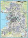 Бумажная ламинированнная настенная карта Санкт-Петербурга
