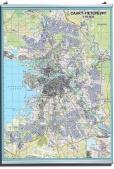 Настенная карта Санкт-Петербурга крупного формата на подвесах