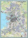 Настенная карта Санкт-Петербурга в алюминиевой багетной рамке