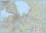 Жесткая настенная карта Ленобласти в алюминиевой рамке
