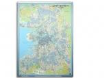 Карта Санкт-Петербурга 150х250см  в профиле Нельсон №5 (ширина 27 мм)