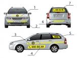 Вариант оформления такси виниловыми наклейками