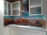 Фартук для кухни из композитной панели со сгибом панели по внешнему углу - эксклюзив