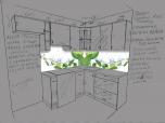 Визуализация деталей фартука по чертежу кухни