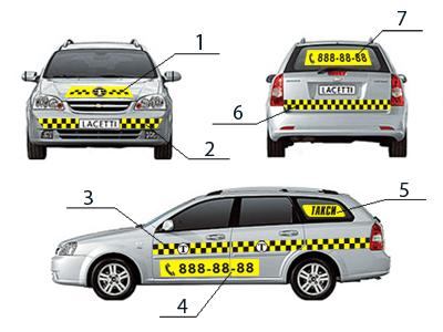 Наклейки для такси в комплектах и на магнитной основе